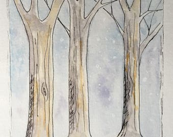 Christmas, Holiday, snow landscape, original watercolor greeting card. For him, for her,  forest, trees, blue,