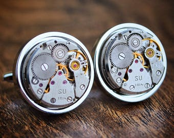 Watch Movement 18mm Cufflinks in Bezel Steampunk Vintage Wedding Groom Gift Mens Present Steampunk Cuff Links Groomsmen Gift Watch Cufflinks