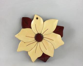 Wooden White Poinsettia Ornament