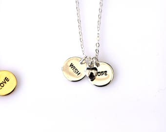 Stamped Coin and Heart Charm Necklace/ Message Necklace/Personalised