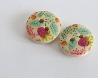 Pink and turquoise floral wooden button
