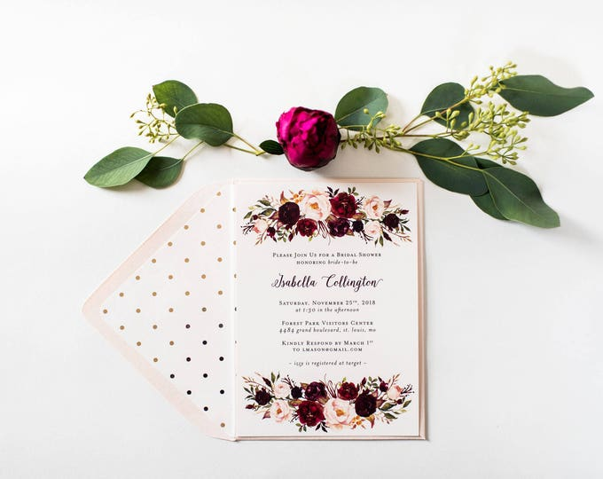 NEW! burgundy floral bridal shower / baby shower invitations (sets of 10)  //  watercolor floral gold foil blush burgundy shower invite