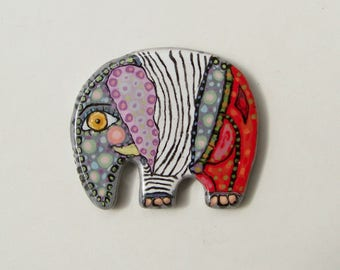 "Ceramic jewelry, artistic jewelry, hand-painted, majolica, ceramic elephant, jewelry clay, Ceramic Brooch ""Sea elephant"""