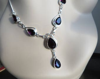 "African Amethyst Gemstone 925 Sterling Silver Jewelry Necklace 16""-18"" Long, Wt. 21.5 Grams"