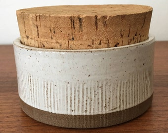 Stoneware Pottery Jar by Selsbo with Cork Lid Ceramic Container