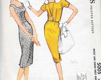 Vintage 1950s McCall's Sewing Pattern 5005- Misses' Dress and Jacket size 12 bust 32 uncut FF