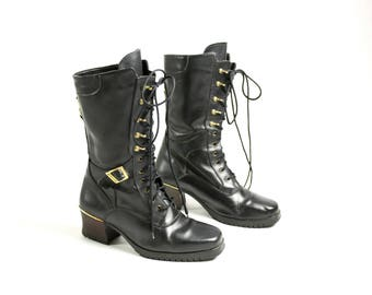 Vintage 70's 80's Leather Black Lace Up Fleece Lined Midi Steampunk Boots - EUR 38/ US 7.5/ UK 5