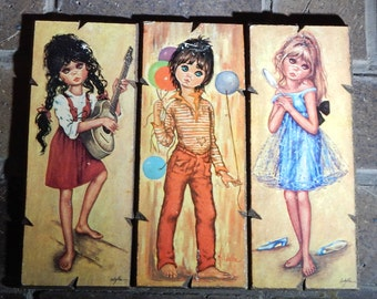 Big Eyes Wall Art Set of 3 Children with Big Eyes Idylle Lolylle Art Board Art Big Eyes Wall Hangings Set Norleans Made In Italy