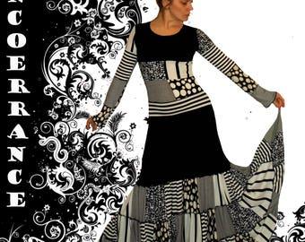 Robe bohème , jupon , boho , patchwork .... 'Black and white Patch ...'