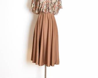 vintage 70s dress, 70s hippie dress, boho dress, brown lace dress, floral print lace, peasant dress, 70s clothing, 70s midi dress, S small
