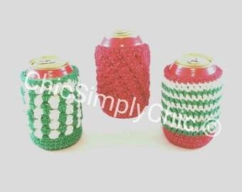 3 Crochet Christmas Soda Can Cozies, Christmas Cozy, Christmas Party Cozy, Bottle Cozy, Can Cozy, Christmas Party Favors, Beverage Cozy,Cozy