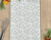 Sage Green Damask Linen Union Tea Towel