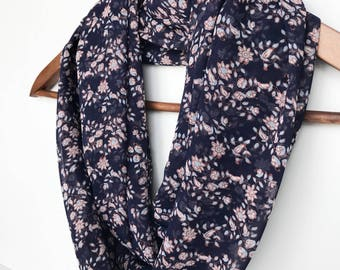 Blue Infinity Scarf, Coworker Gift, Floral Scarf, Leaves Scarf, Lightweight Fall Scarf, Sheer Scarves for Women, Printed Scarf, Gift For Mom
