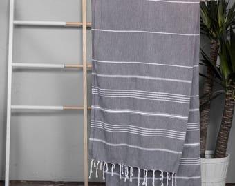 Turkish Towel Dark Gray | Authentic Beach Towel Travel Throw Bath Towel Fouta Turkish Cotton Yoga Spa Blanket Sarong Summer Accessory TAL05
