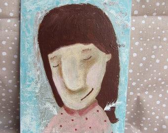"ANGEL - Original Acrylic Painting 13x18 cm, 5""x7"" Portrait Face Painting"