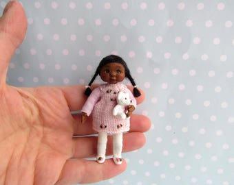 OOAK miniature doll Girl CHILD . 1:12 Dollhouse miniature doll POSEABLE. Polymer clay Handsculpt art doll. Artist Doll