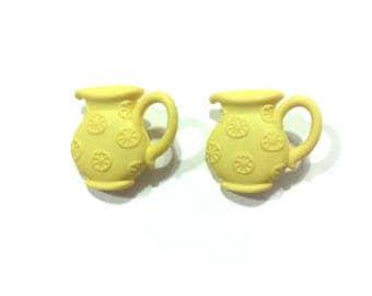 Lemonade Pitcher Buttons Set of 2 Shank Back Yellow - 262