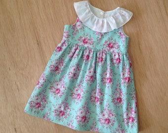 Baby tea party dress // blue floral cotton fabric // tea party dress toddler // newborn 3 6 12 18 months 2T 3T //baby girls summer dress