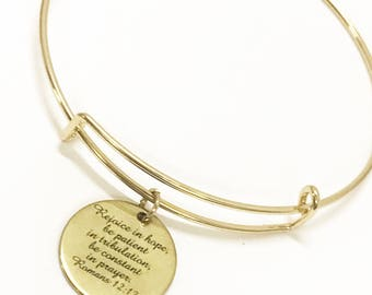 Christian Jewelry, Rejoice in Hope Bracelet, Romans 12:12 Jewelry, Christian Gift, Christian Bracelet, Bible Verse Jewelry Gift For Her