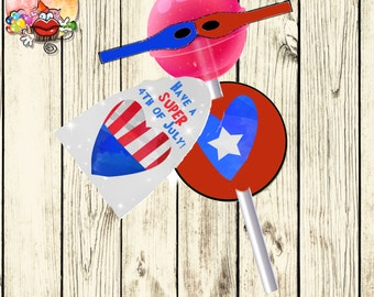 Printable 4th of the July superhero lollipop cover