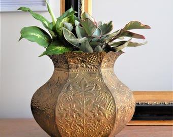 Large Vintage Brass Planter/ Brass Pot/ Made in India/ Leaf Stamp Planter/ Antique Brass Planter/ Boho Decor/ Bohemian Planter