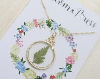 Fern Gold Circle Pressed Flower Necklace
