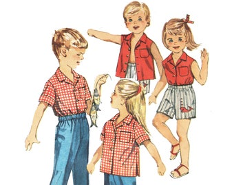 Toddler Boys and Girls Hawaiian Shirt Pattern Camp Shirt Pattern Pants and Shorts Pattern 1960s Sewing Pattern Simplicity 3944 Size 4 4T