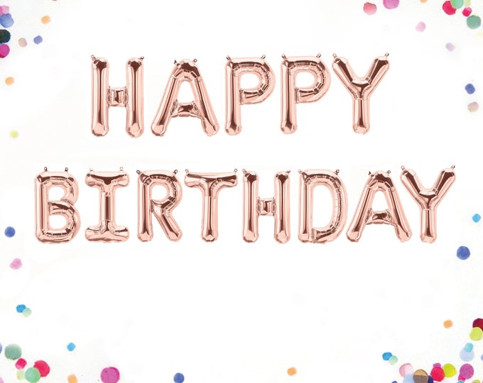 "Happy Birthday Balloons, Rose Gold Happy Birthday Banner, Happy Birthday Banner, Rose Gold Happy Birthday Balloons, Letter Balloons 40"""