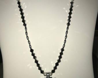 Jet Black Swarovski Crystal Necklace