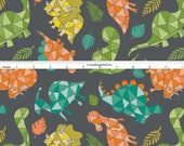 Dinosaure tissu, tissus Camelot vous êtes Dino Mite 6141702 02, Aqua, turquoise, Orange, corail, pêche, gris, vert dinosaure Quilt Fabric, coton