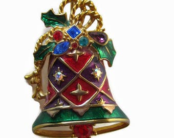 Christmas Bell Pin by Christoper Radco / Christmas Brooch / Christmas Bell / Vintage Christmas Jewelry / Gift for Her / Holiday Jewelry