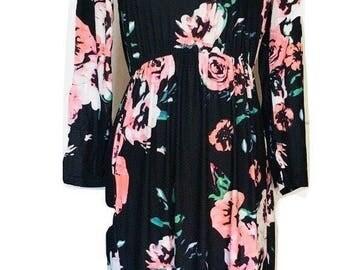 Women maxi dress, floral maxi dress, vintage maxi dress, long sleeve maxi dress, black, blue, green, pink, white, S, M, L, XL, XXL, XXXL