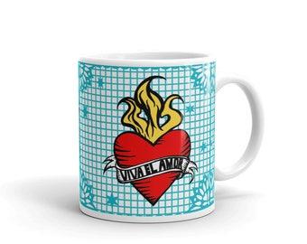 VIVA el AMOR / Long Live Love / Papel Picado Flaming Heart Art Tattoo Mug