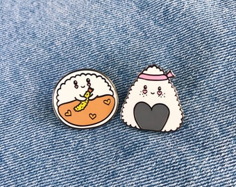 Little Curry and Nigiri Sushi Enamel Lapel Pin