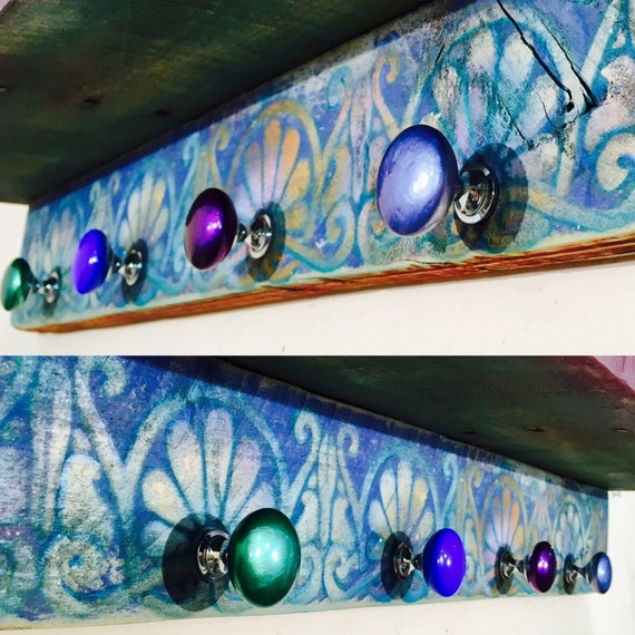 Art Deco decor shelf floating vanity reclaimed colorful nightstand furniture /wooden art home decor wall organizer bedroom shelving 4 knobs