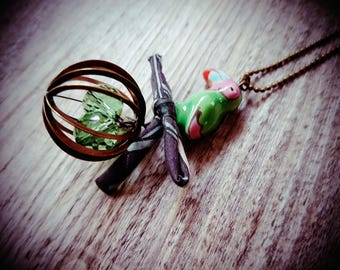 """The Parrot and cage"" necklace"