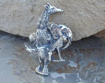 D'Molina ~ Mexican Sterling Silver African Safari Animals Brooch / Pin