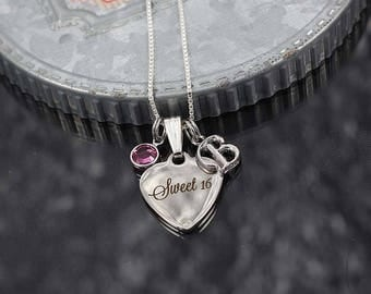 Sweet 16 necklace, sweet sixteen birthday gift, sweet 16 necklace with initial charm, sweet 16 gift for daughter, sweet 16 birthday