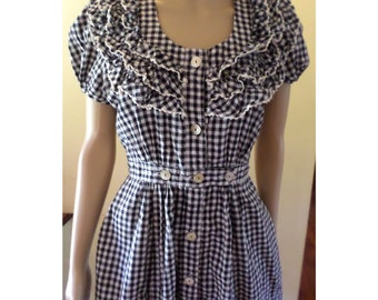 Vintage 1950's Navy Blue Gingham Puff Sleeve Fit and Flare Dress W/ Ruffled Yolk Fitted Waist with Mother of Peal Buttons front and back XS