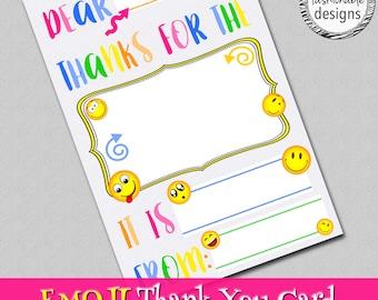 "Emoji Thank You Card, Kids Card, Instant Download, 4x6"" JPG,"