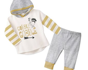 Baby Thanksgiving Outfit, Baby Boy and Girl Thanksgiving Outfit, Hoodie, Leggings, Ivory Yellow and Grey, Tesababe TL13HIYIM0000