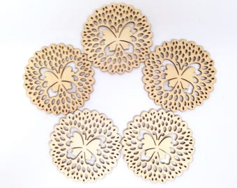 "5 WOOD DIE CUTS consist of Five Intricate and Stitchable 3"" Medallion-Type Plywood Die Cuts Scalloped with a Butterfly in the Center"