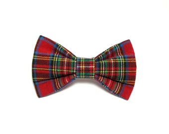 Woven Christmas Plaid, BOW TIE ONLY Dog and Cat bow tie, pet bow tie, collar bow tie, wedding bow tie