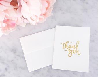 Gold Foil Thank You Card - Gold Foil Card - Calligraphy Foil Card - Calligraphy Card - Greeting Card - Thank You Card - Card