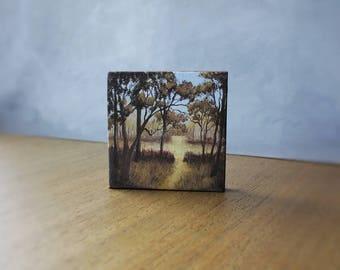 Autumn Forest Painting, Miniature Art, Landscape Painting, Fall Trees, Autumn Home Decor, Miniature Painting, Forest Art, Mini Canvas Art