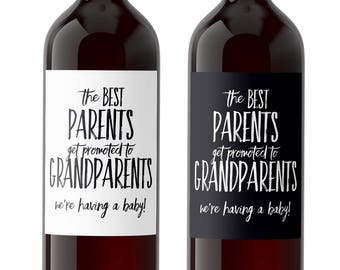 Two (2) The Best Parents Get Promoted to Grandparents Wine Label, Pregnancy Announcement Wine Label, Announcing Pregnancy to Family