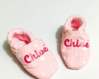 Chaussons Bottines Bébé Coton Naissance à 24 mois Personnalisable : tissu coton fille ou garçon, prénom