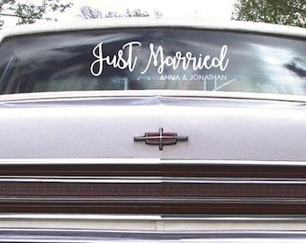 Signe personnalisé juste Married escapade voiture signe Decal, envoi de voiture, autocollant voiture, Just Married, pour toujours et toujours signe, décorations de voiture