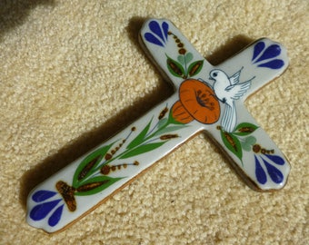 Vintage Ceramic Cross Folk Art Wall Hanging with orange  Morning Glory and Dove Design Made in Mexico
