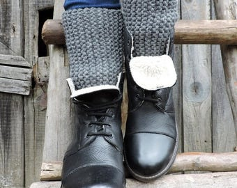 30% OFF Gray cuffs Hand knitted cuffs Boot toppers Grey leg warmers Chunky cuffs Boot cuffs Grey boot socks Boot liners